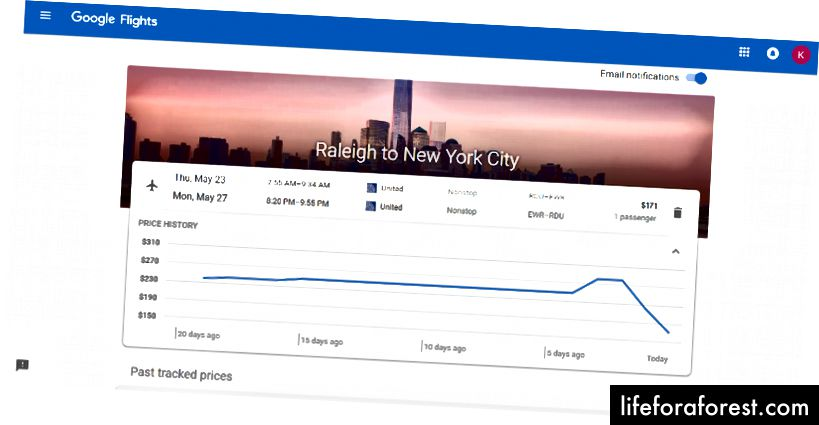 Google Flights Prissporing