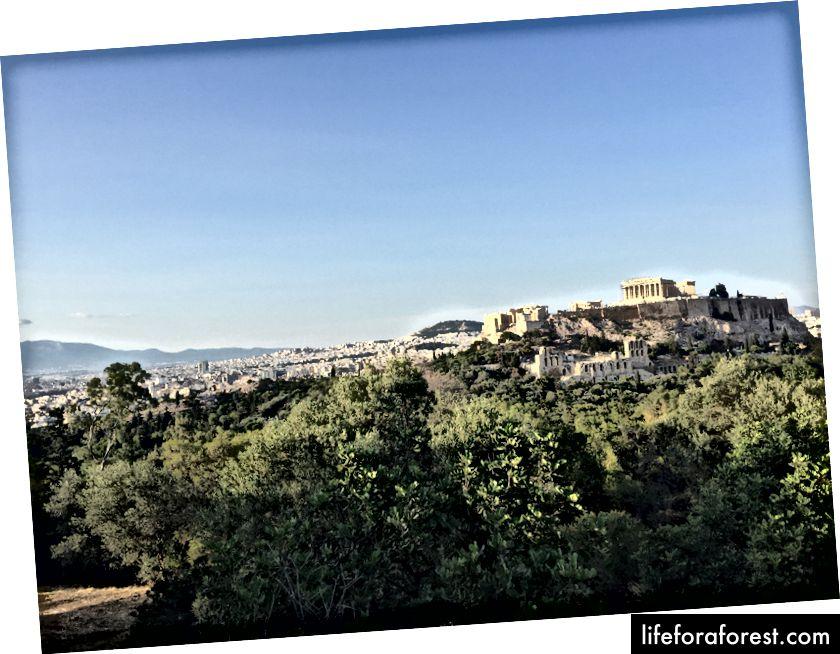Utsikt over Akropolis fra Philopappos-åsen