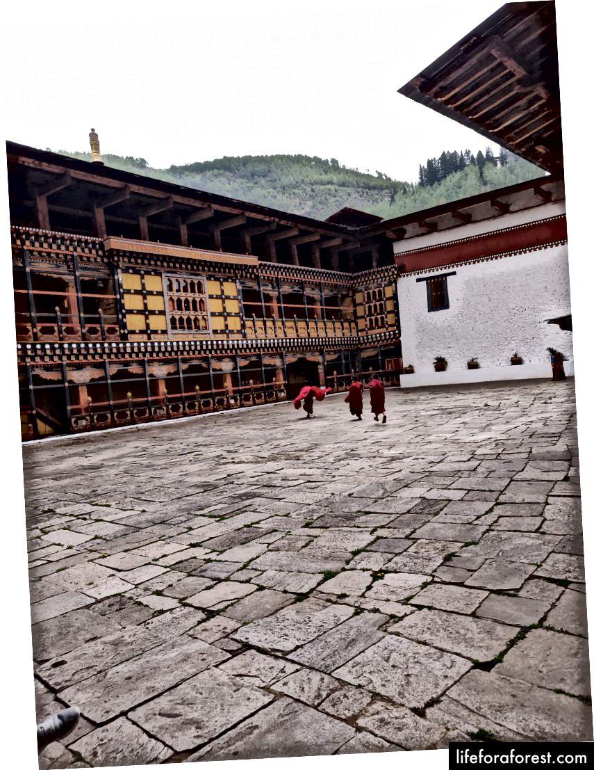 Lille munker i Paro Dzong