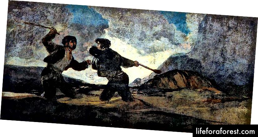 Riña a garrotazos (autor Goya - allikas: Wikiepedia - PD)