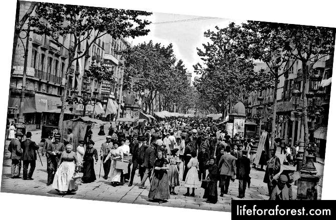 Las Ramblas, gần 100 năm trước khi tôi đến thăm (ảnh thuộc sở hữu của Montse liz - PD, nguồn: Wikiepedia)