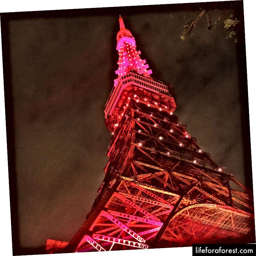 Et bilde av Tokyo Tower jeg tok på kinesisk nyttår