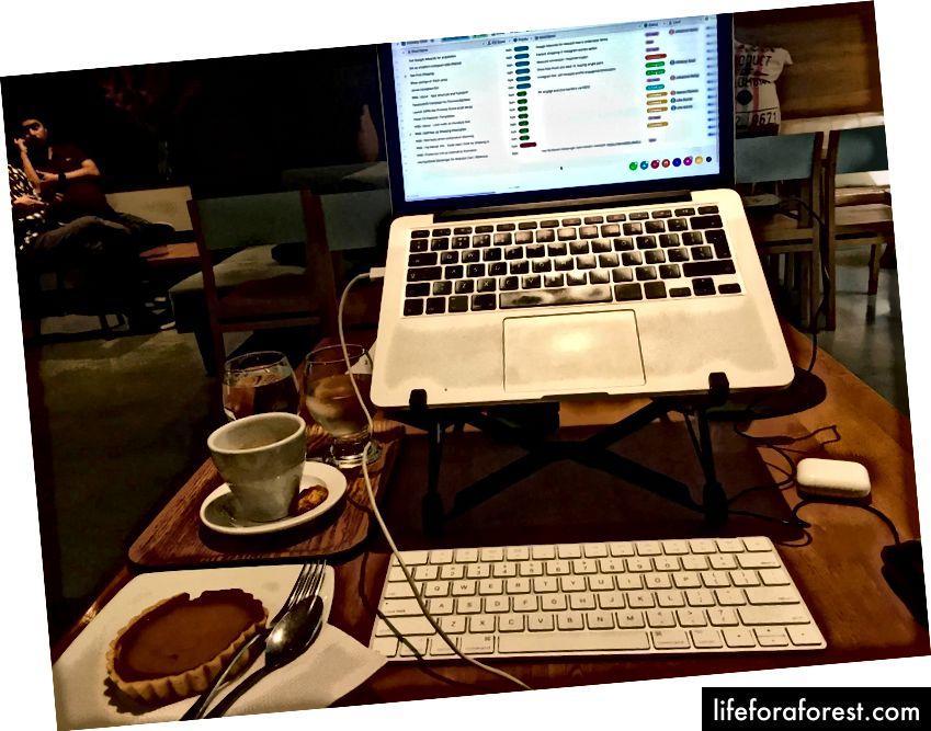 Moje technika v akci - samozřejmě s espressem a lahodným kouskem koláčku Arequipe (v Medellín, Kolumbie).