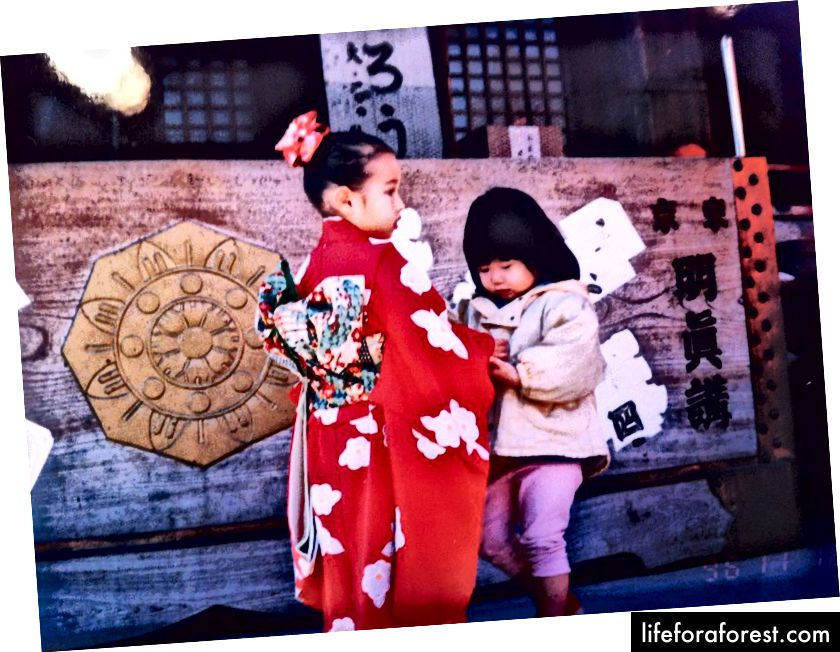 Bu men uch yoshli Shichi-go-san festivalida qizil kimono kiygan paytimda (Robert Uesler surati)