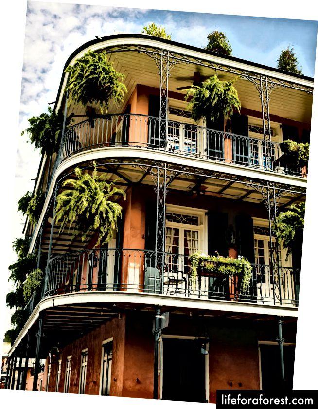Frantsiya kvartalidagi go'zal balkonli binolardan biri.