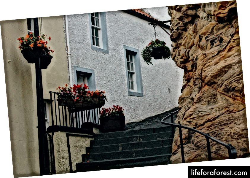 Tangga dibangun di atas permukaan batu.