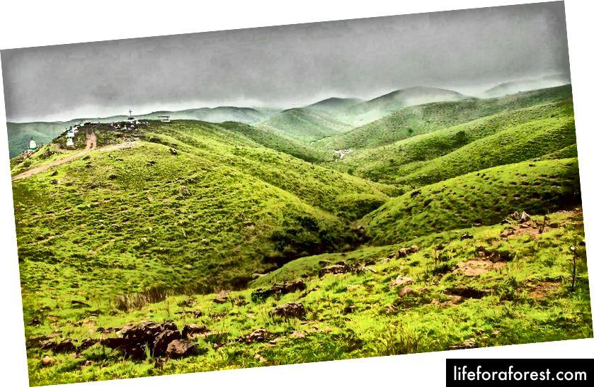 Cherrapunji shahri atrofidagi odatiy landshaftlar.