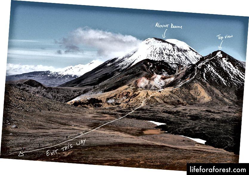 풍경에서 산의 이름을 지정하고 하이킹 경로를 지적하는 좋은 방법입니다.