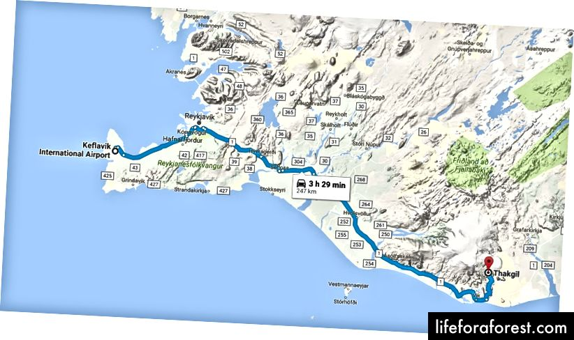 Ngày 1: KEF đến Thakgil Cottage (~ 3 giờ lái xe)