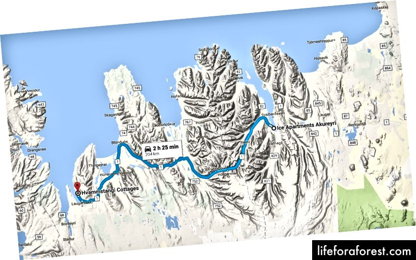 Ngày 5: Căn hộ băng đến Hvammstangi Cottages (~ 2,5 giờ lái xe)