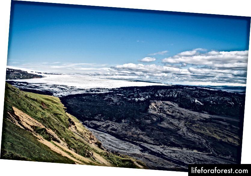 (Dưới cùng bên phải) Quang cảnh sông băng Kotlujokull
