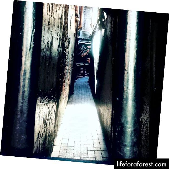 Lối vào con hẻm chật hẹp hướng đến ngục tối yêu dấu của tôi