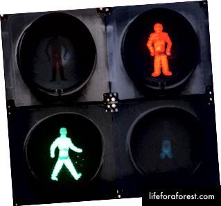Grønn mann - godt å gå! Rød fyr - ikke så mye!
