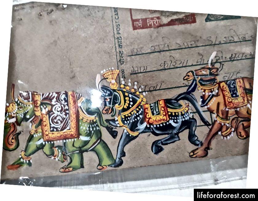 Peinture miniature sur carte postale ancienne (disponible dans la vieille ville d'Udaipur)