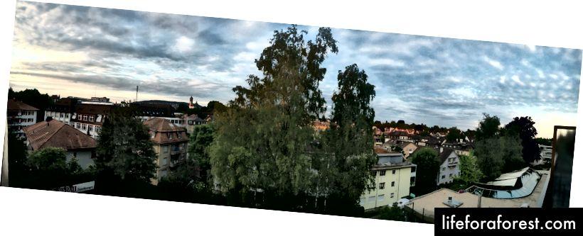 Matahari terbenam Zurich dari Hotel Engimatt