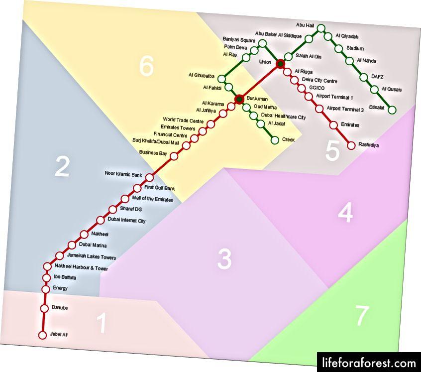 두바이 지하철지도