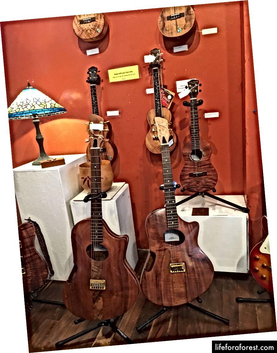 Piter MakLarenning o'zi tomonidan yaratilgan koa gitaralari.