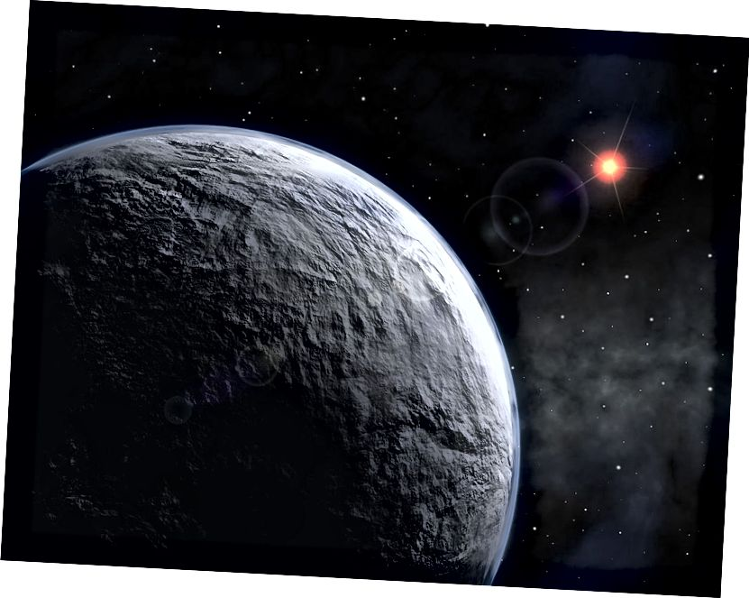 L'impressione di un artista di OGLE-2005-BLG-390Lb, un esopianeta scoperto nel 2005 mediante microlensing gravitazionale. Immagine di credito: ESO, con licenza Creative Commons Attribution 3.0 Unported.