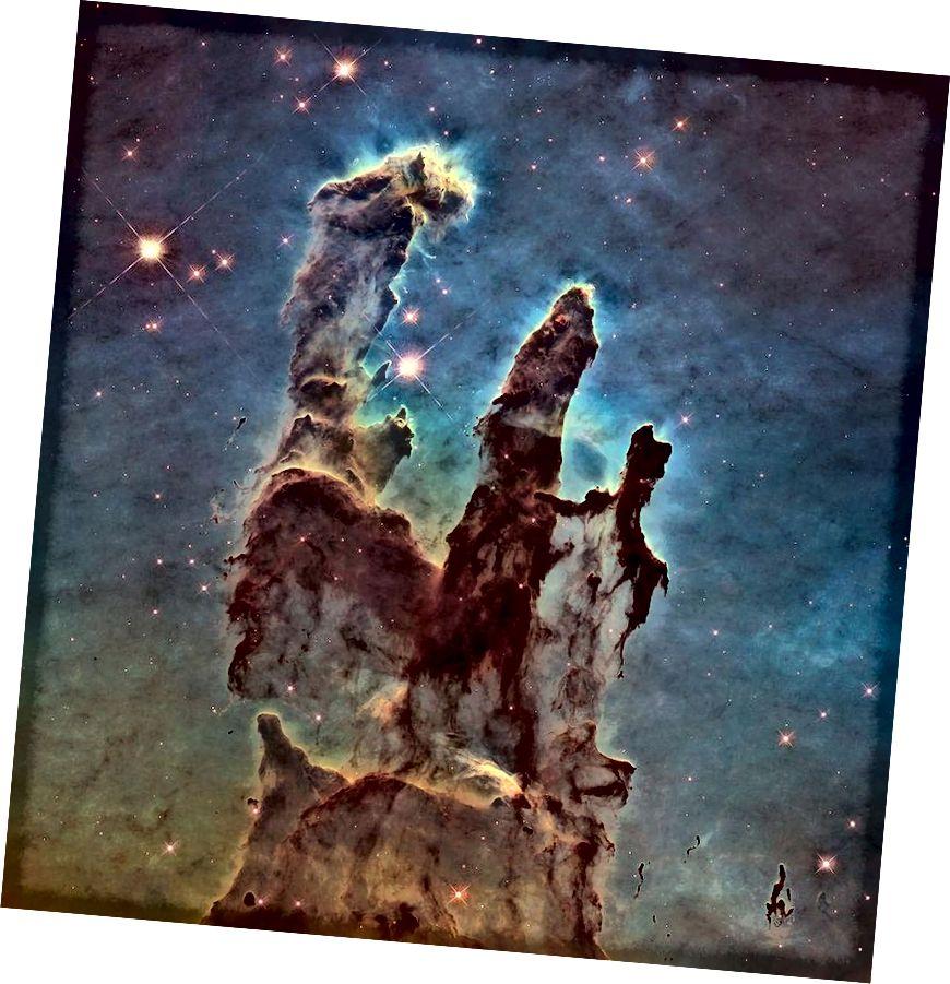 Questa visione dei Pilastri della Creazione nella Nebulosa Aquila è stata assemblata da un mosaico contenente dati che coprono 20 anni di dati di Hubble. Mentre un insieme di dati non visivi può essere più scientifico dal punto di vista scientifico, un'immagine come questa può alimentare l'immaginazione anche di chiunque non abbia alcuna formazione scientifica, pur descrivendo quanto il telescopio spaziale Hubble sia stato rivoluzionario per l'astronomia. (NASA, ESA E THE HUBBLE HERITAGE TEAM (STSCI / AURA))