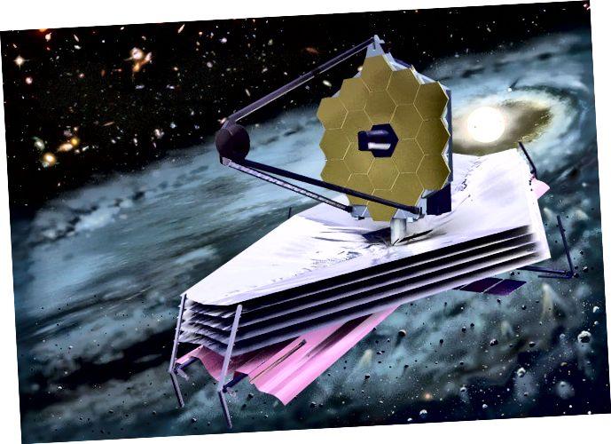 Impressione dell'artista del James Webb Space Telescope. JWST potrebbe essere uno degli strumenti più interessanti in arrivo nei prossimi anni, ma lo è anche WFIRST - ei due sono telescopi molto diversi. Credito d'immagine: NASA