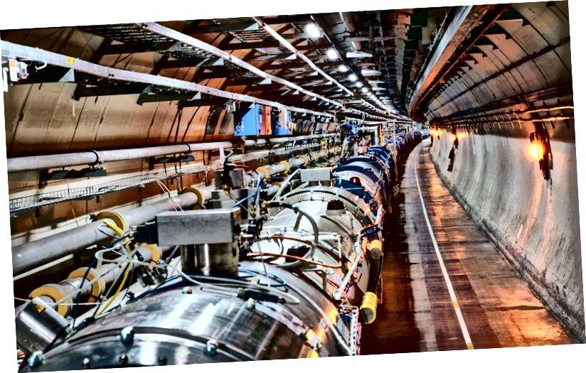 L'interno dell'LHC, dove i protoni si incrociano a 299.792.455 m / s, a soli 3 m / s dalla velocità della luce. Potente quanto l'LHC, l'SSC cancellato avrebbe potuto essere tre volte più potente e potrebbe aver rivelato segreti della natura che sono inaccessibili all'LHC. (CERN)