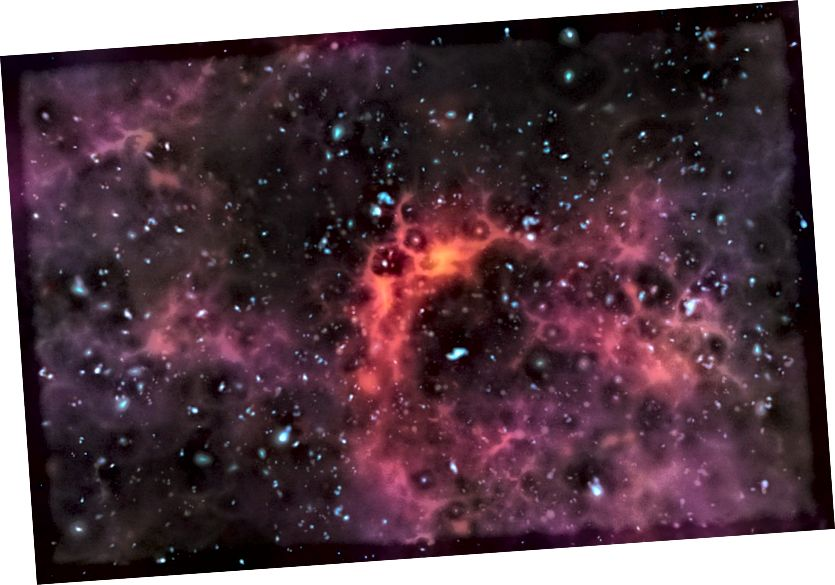 Погляд на далёкія зоркі і галактыкі праз бліжэйшыя газавыя аблокі. Малюнак: ESO / M. Карнмессер.