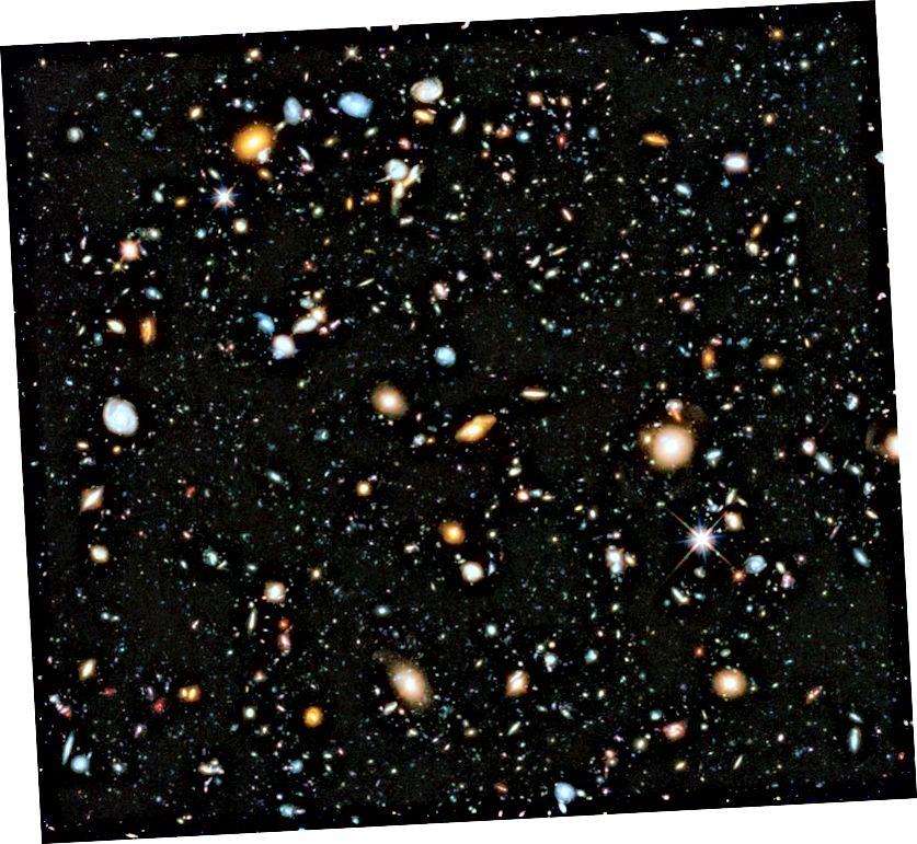 Komposit UV-visible-IR penuh XDF; gambar terbesar yang pernah dirilis dari Alam Semesta yang jauh. Di wilayah yang hanya 1/3,000,000 dari langit, kami telah menemukan 5.500 galaksi yang dapat diidentifikasi, semuanya berkat Hubble Space Telescope. Ratusan yang paling jauh yang terlihat di sini sudah tidak terjangkau, bahkan dengan kecepatan cahaya, karena ekspansi ruang yang tanpa henti. Sebelum Hubble, kami tidak tahu semua ini. (NASA, ESA, H. TEPLITZ DAN M. RAFELSKI (IPAC / CALTECH), A. KOEKEMOER (STSCI), R. WINDHORST (UNIVERSITAS NEGARA ARIZONA), DAN Z. LEVAY (STSCI)