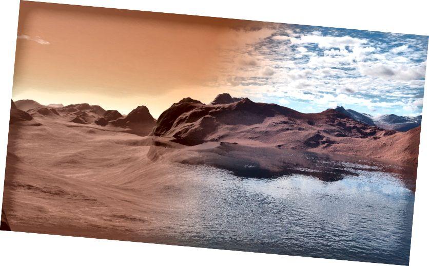 Prikaz izgleda Marsove površine nekada davno izgledala Image Jon Wade i James Moore.