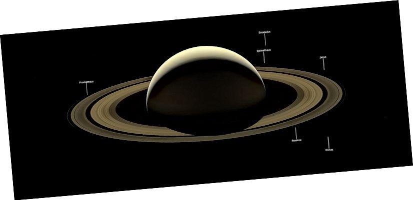 Cassinijeva posljednja slika Saturna, snimljena 2017. Nekoliko mjeseci je etiketirano, iako izrazito slabo. Kreditna slika: NASA / JPL-Caltech / Space Science Institute.