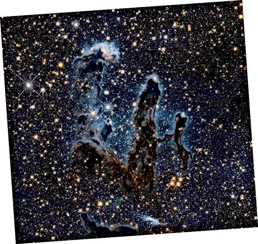 Ստեղծագործության սյուների ներսում և դրանից դուրս գտնվող աստղերը բացահայտվում են ինֆրակարմիր վիճակում: Մինչ Հաբլը տարածում է իր տեսակետը 1,6 միկրո, տեսանելի լույսի ավելի քան երկու անգամ ավելի մեծ քանակի, Jamesեյմս Ուեբը դուրս կգա մինչև 30 միկրոն ՝ գրեթե 20 անգամ ավելի շուտ: Պատկերային վարկ. NASA, ESA և Hubble Heritage Team (STScI):