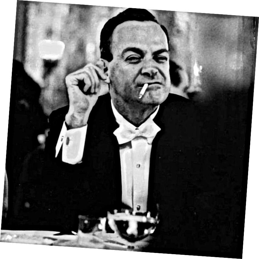 रिचर्ड फेनमैन, शायद धूम्रपान कर रहे थे क्योंकि वह क्वांटम यांत्रिकी के साथ सामना करने की कोशिश कर रहा था।