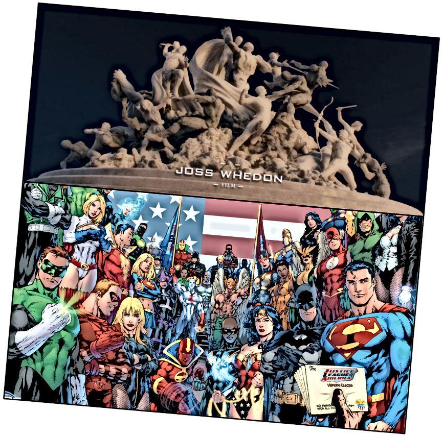 Pantheon of Gods Secular. Thuas: Dealbh de na Avengers ó Aois Ultron. Thíos: Superheroes League Justice