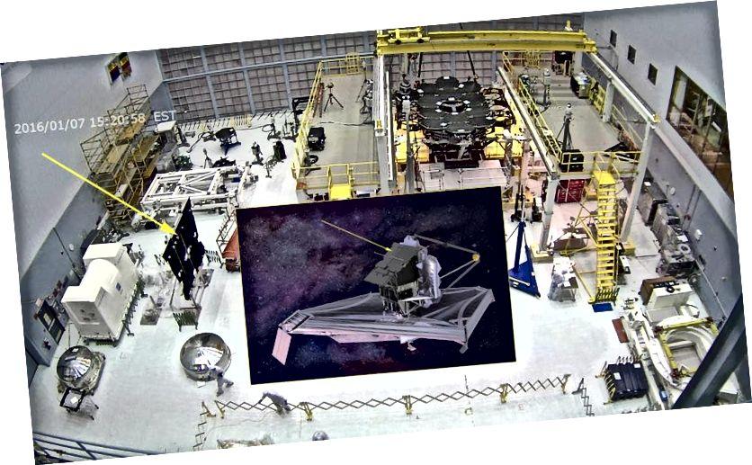 Радиатор с фиксированным ISIM, завершенный только в прошлом году, излучает тепло от модуля инструментов (ISIM), научных приборов и тепловых ремней. Изображение предоставлено NASA / Northrop Grumman.