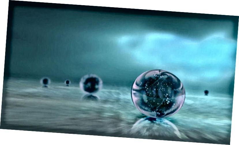 En illustration af flere uafhængige universer, der er årsagsmæssigt frakoblet fra hinanden i et stadigt voksende kosmisk hav, er en skildring af Multiverse-ideen. Hvad der bestemmer værdien af mørk energi er stadig ukendt. (Ozytive / Public domain)