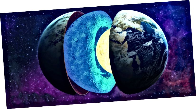 El mantell amb les seves tres subcaps (mantell superior, zona de transició i mantell inferior) té 1.800 milles de gruix, ocupant aproximadament el 84% del volum de la Terra. L'escorça només constitueix l'1%. Imatge: Buscador.