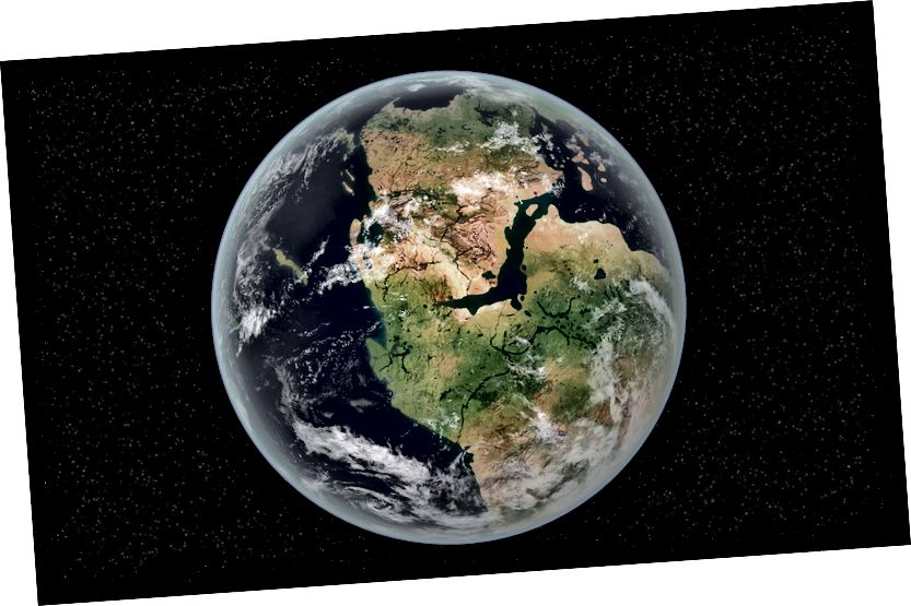 Pangea com ho hauria estat fa 335 milions d'anys. Els motius pels quals els científics estimen que hi ha un màxim de tres vegades l'aigua dels nostres oceans superficials a la zona de transició és perquè majors quantitats d'aigua haurien evitat que el mantell es trenqués les plaques i creés els continents que tenim actualment.