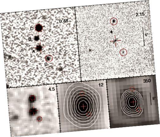 Joonis 5, Eisenhardt jt. WISE 1814 + 3412 neli komponenti on nähtavad, kuid ainult komponent A on huvipakkuv allikagalaktika.