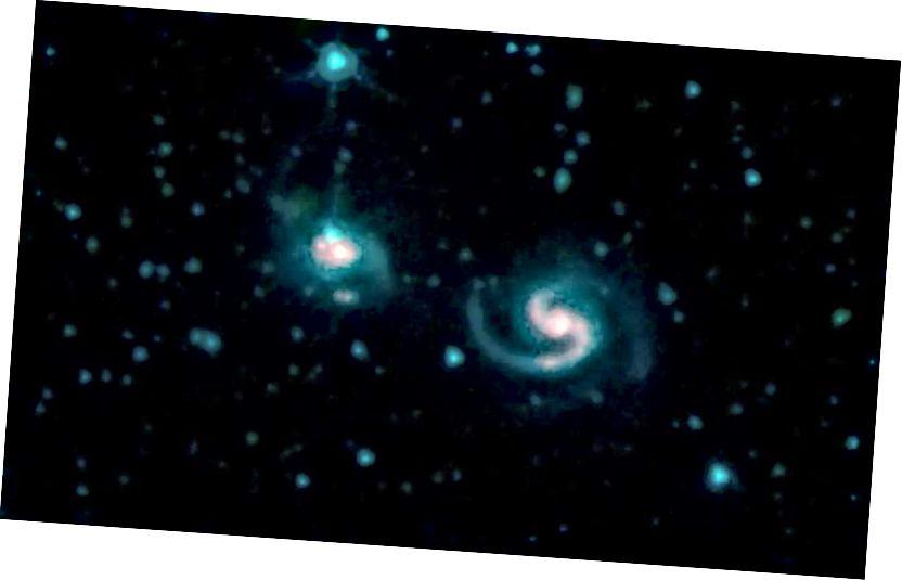 Dieses Bild zeigt die galaktische Verschmelzung von Galaxien, die als NGC 6786 (rechts) und UGC 11415 (links) bekannt sind und auch als VII Zw 96 bezeichnet werden. Es besteht aus Bildern von drei IRAC-Kanälen (Spitzer Infrared Array Camera): IRAC-Kanal 1 in Blau , IRAC-Kanal 2 in grün und IRAC-Kanal 3 in rot. Bildnachweis: NASA / JPL-Caltech