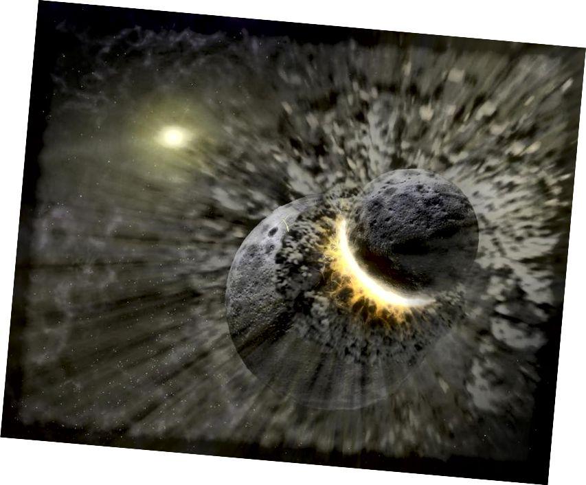 D'eascair imbhualadh ollmhór pláinéadéadar mór as an gcóras Domhan-Ghealach, rud nár fhoghlaim muid ach trí dhul chun na Gealaí agus samplaí de dhromchla na gealaí a thabhairt ar ais go dtí an Domhan. Creidmheas íomhá: NASA / JPL-Caltech / T. Píl (SSC).