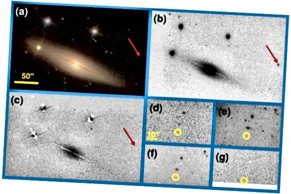 Sl. 1, Perets i sur. (a) prikazuje SDSS sliku NGC 1032 prije supernove; (b) prikazuje KAIT-ovu sliku nakon toga, s SN 2005E jasno vidljivim.