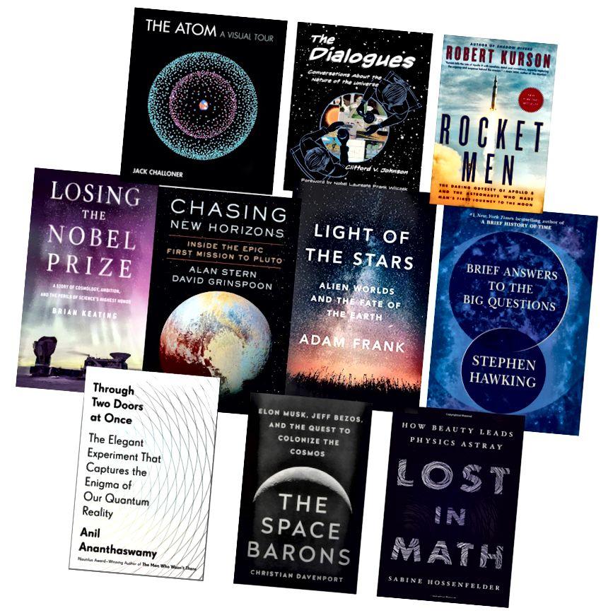 10 najboljih knjiga o astronomiji, fizici i matematici objavljeno u 2018. (Kredit: slika sakoa knjige, sastavljena od Bob O'Hara.)