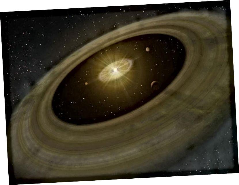 """Una il·lustració d'un disc protoplanetari, on primer es formen planetes i planetesimals, creant """"buits"""" al disc quan ho fan. El disc exterior proporciona el material que acaba creant mantells, crostes, atmosferes i oceans de planetes com el nostre. Es necessita moltes generacions d'estrelles per arribar a un sistema planetari que pot tenir un planeta semblant a la Terra amb els nivells adequats d'abundància d'elements pesats per donar suport a la vida tal com la coneixem. (NAOJ)"""