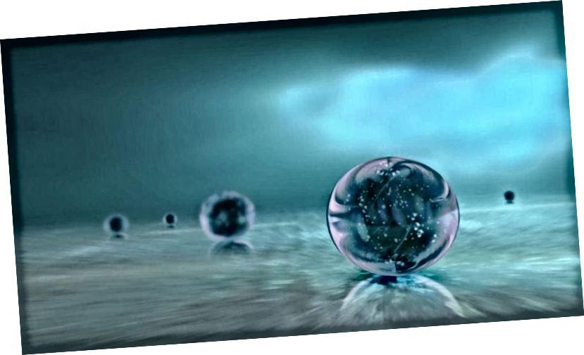 Eine Darstellung mehrerer unabhängiger Universen, die in einem sich ständig erweiternden kosmischen Ozean kausal voneinander getrennt sind, ist eine Darstellung der Multiversum-Idee. (OZYTIVE / ÖFFENTLICHE DOMÄNE)