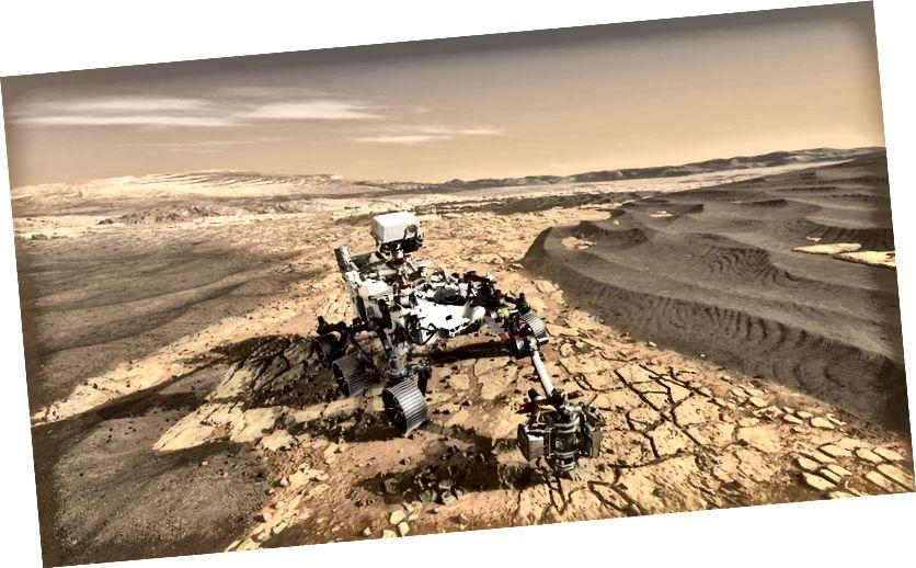 Kunstniku kontseptsioon NASA marsruudist Mars 2020, mis uurib Punase planeedi pinda. Kujutise krediit: NASA / JPL-Caltech