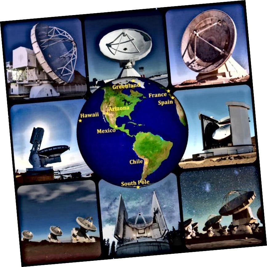 Vaade erinevatele teleskoopidele, mis aitavad kaasa sündmuse Horisondi teleskoobi kuvamisvõimalustele ühest Maa poolkerast. Aastatel 2011–2017 kogutud andmed peaksid võimaldama meil nüüd luua pildi Ambur A * -st ja võimalik, et ka mustast august M87 keskel. (APEX, IRAM, G. NARAYANAN, J. MCMAHON, JCMT / JAC, S. HOSTLER, D. HARVEY, ESO / C. MALIN)