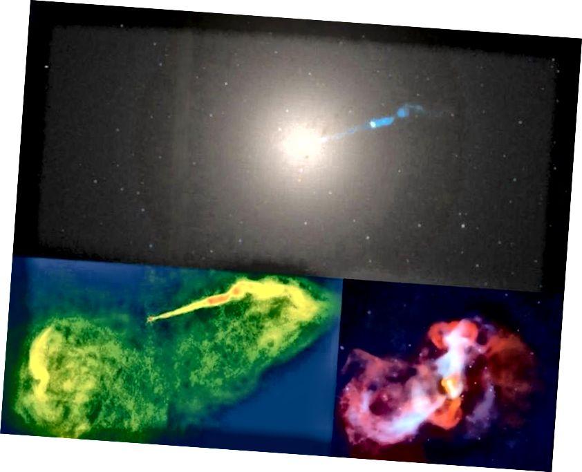 Maalt vaadatuna suuruselt teine must auk, galaktika M87 keskel asuv auk, on siin kolmes vaates. Vaatamata 6,6 miljardi Päikese massile on see üle 2000 korra kaugemal kui Ambur A *. Võib-olla pole see EHT-ga lahendatav, kuid kui Universum on lahke, saame sellest ju pildi. (ÜLEM, OPTILINE, HÕBELISE KOSMOSEGA TELESKOOP / NASA / WIKISKY; ALASEM VASAK, RADIO, NRAO / VÄGA SUUR ARRAY (VLA); Alumine parem, röntgenikiirgus, NASA / CHANDRA X-RAY TELESKOOPP)