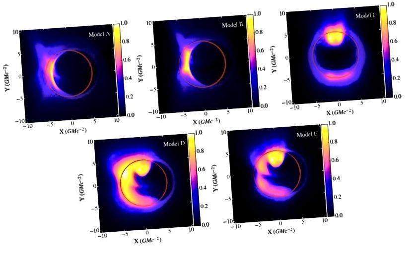 Fem forskellige simuleringer i generel relativitet ved hjælp af en magnetohydrodynamisk model af det sorte huls akkretionsskive, og hvordan radiosignalet vil se ud som et resultat. Bemærk den klare underskrift af begivenhedshorisonten i alle de forventede resultater. (GRMHD-simuleringer af synlighed AMPLITUDE VARIABILITET TIL EVENT HORIZON TELESCOPE BILLEDER AF SGR A *, L. MEDEIROS ET AL., ARXIV: 1601.06799)