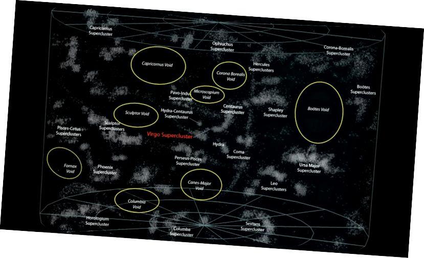 Una mappa di vuoti e superammassi attorno alla Via Lattea, centrata sul Supercluster della Vergine. Il Vuoto locale è troppo piccolo per essere visto. Credito immagine: Andrew Z. Colvin, sotto la licenza Creative Commons Attribution-Share Alike 3.0 Unported.