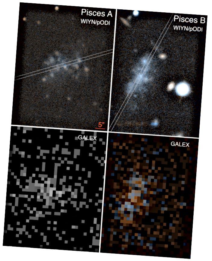 Figura 1, Tollerud et al. 2015. Le immagini radio e ottiche originali dei Pesci A e B. La risoluzione è piuttosto scarsa, ma ha comunque prodotto misurazioni della distanza decenti.