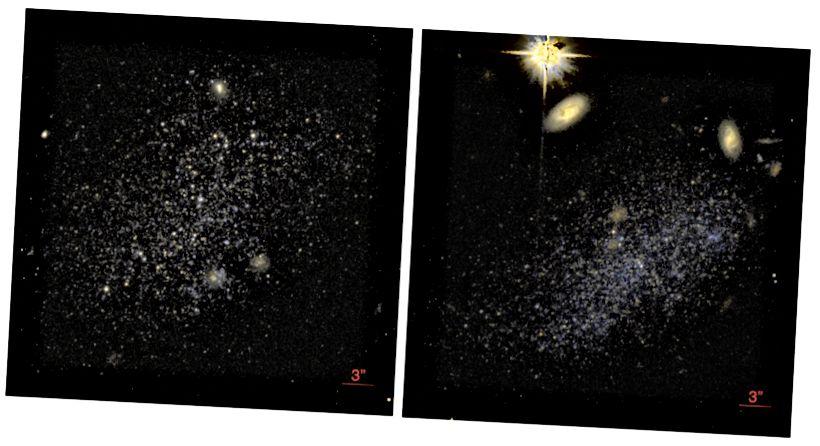 Fig. 1 e 2, Tollerud et al. 2016. Immagini Hubble dei Pesci A e B. Mentre le immagini WIYN erano abbastanza buone da discernere alcune fonti puntuali, Hubble è stata in grado di fornire immagini con una risoluzione significativamente più elevata.